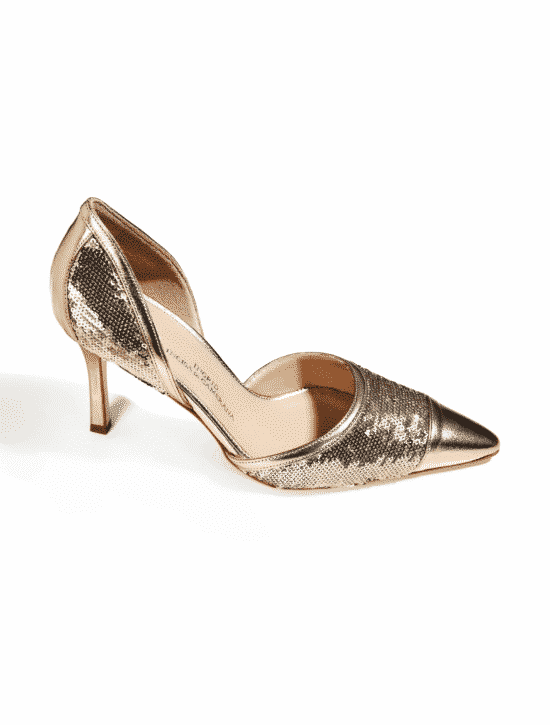 LEATHER SHOES WITH GOLDEN SEQUINS