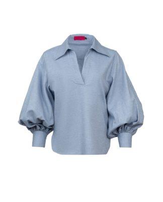 SOPHIE BLUE V-NECK SHIRT FLANNEL-CASHMERE
