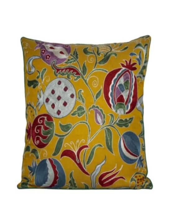 Suzani Bright Golden Silk and Cotton Cushion