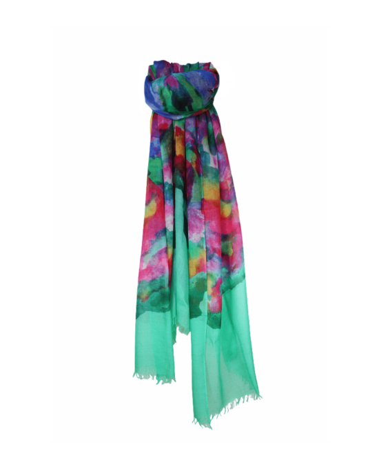 CASHMERE TIE AND DYE SCARF TENDER GREEN MULTI