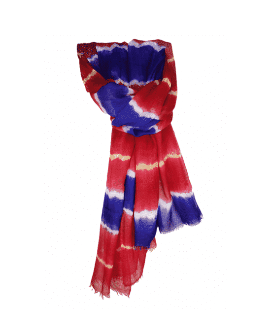 CASHMERE TIE AND DYE SCARF MULTICOLOR RED-BLUE