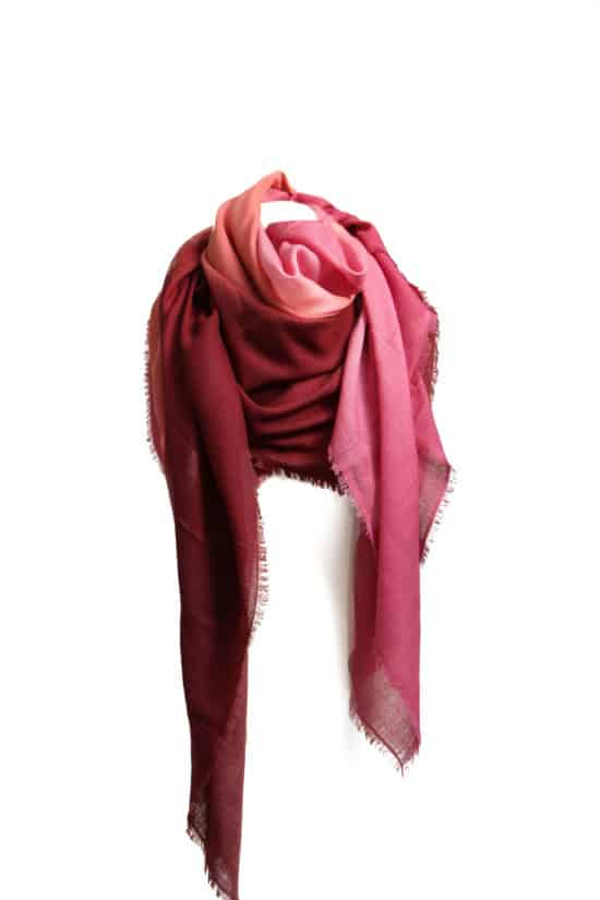 WOOL SILK SCARF RED POMEGRANATE BROWN