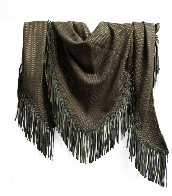 CYPRESS TRIANGLE SCARF WITH LEATHER FRINGE