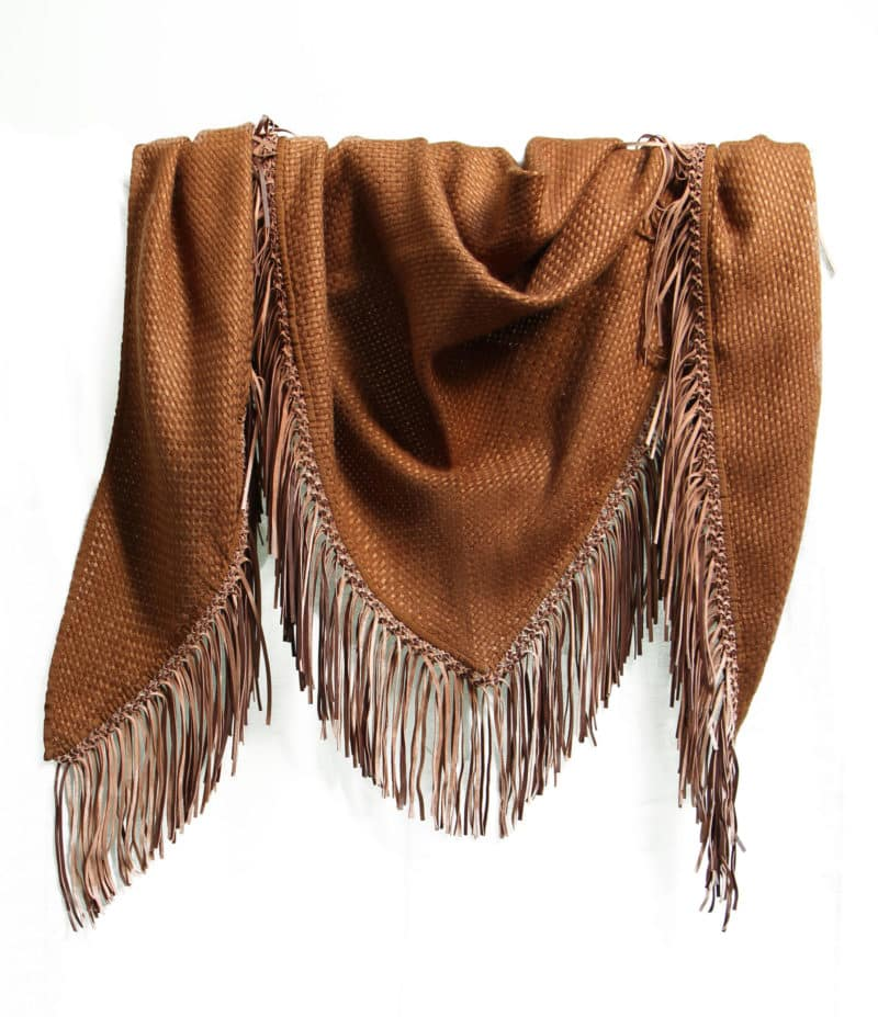 COGNAC TRIANGLE SCARF WITH LEATHER FRINGE