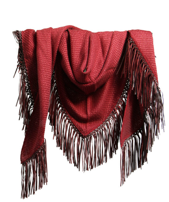 TRIANGLE SCARF WITH LEATHER FRINGE