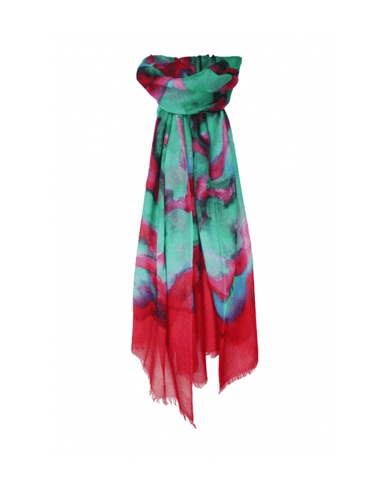 CASHMERE TIE AND DYE SCARF RED MULTI