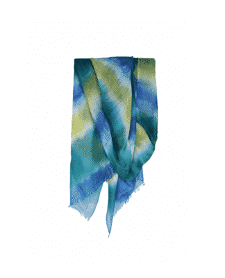 CASHMERE TIE AND DYE SCARF MULTICOLOR YELLOW-GREEN