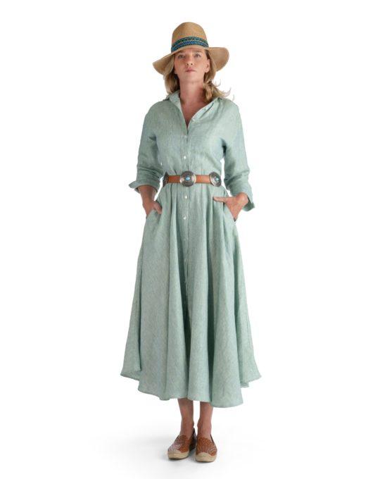 Long Dress Linen Green